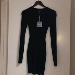 Black ribbed long sleeve dress